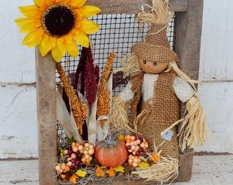 Scarecrow Fall Arrangement Vintage Screen Box Sunflower Pumpkin Silk Fall Foliage Burlap Orange Yellow Weathered Wood Table Wall Decor