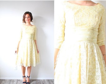40% OFF CHRISTMAS in JULY Vintage short sleeve 1950's yellow lace dress // summer yellow lace dress // formal modest dress spring dress // m