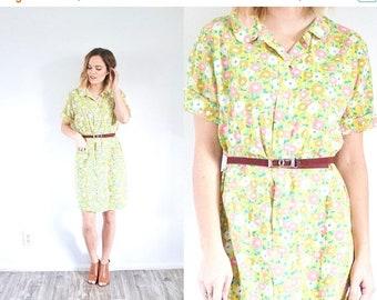 25% OFF ST. PATRICKS sale Yellow floral dress // mod 60's 70's night gown // summer dress // modest knee length dress // yellow midi dress /