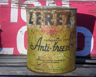 Rustic Vintage • Zerex DuPont Permanent Anti-Freezer Rust Inhibitor Tin Container | 1 Gallon Beautiful Patina | Made in USA