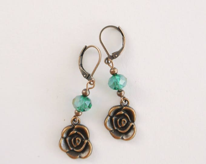 Antique copper dangle earrings with green czech glass beads and rose pendant, vintage style, whimsical, romantic, retro, sweet, darling boho