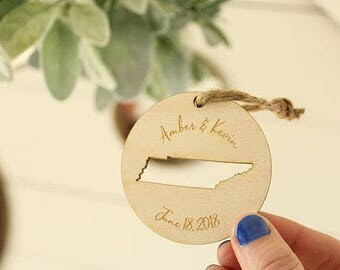 Wedding Favor Ornaments | State Ornament | Tennessee Ornament | Engraved Ornaments | Bulk Pricing