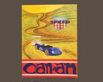 Vintage Mod Advertising Sports Car Club Speed Nationals Can-Am Illustration Painting