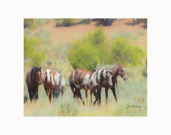 Picasso & Friends - Painting - Wild Mustang of Sand Wash Basin, Wild Horse Painting, sand wash basin wild horses, Colorado Stallions