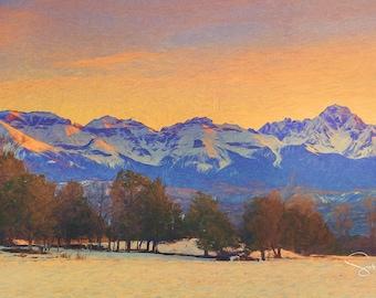 San Juans from the Cedars - Sneffles, Cirque and Whitehouse - Colorado Winter - Colorado - San Juan Mountains  - San Juan Mountains