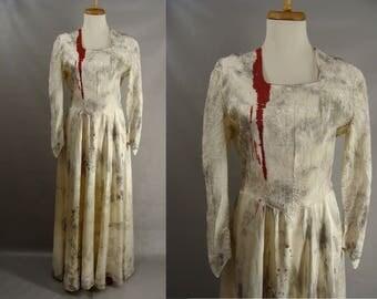 Custom made bloody zombie corpse bride wedding dress gown for Corpse bride wedding dress for sale
