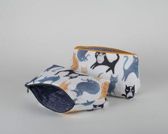 Large cat pouch / make-up bag