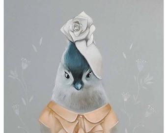 On Sale Whimsical Bird Art, Acrylic Bird, Print of grey Titmouse bird painting, gender neutral decor, nursery decor Titmouse bird, animal in