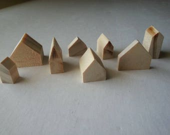 10 mixed sizes small natural wooden houses | pine wood houses | little houses | miniature houses | cottages | doll house decor | crafting