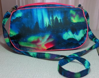 aurora borealis handbag with detachable strap northern lights clutch bag UK seller