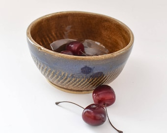Ceramic Serving Bowl - Small  Hand thrown Bowl - Brown Cereal Bowl - Blue Pottery Bowl - Pottery Serving Bowl - Handmade Pottery bowl -