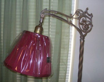 Burgundy Pleated & Lined Lamp Shade for Small Bridge Lamp-New!