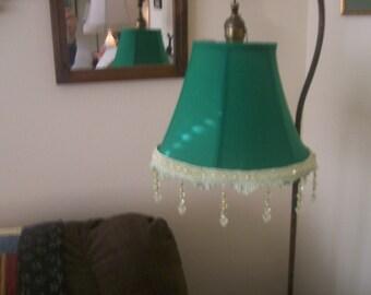 Elegant and New Green Silk Lamp Shade with Beaded Fringe 4 Bridge Lamp