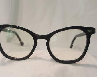 Vintage 1940s Women's Black Frame Eyeglasses. Art Craft. 5 Inch Brow