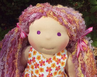 "Waldorf Doll - 15"" Girl - Ready to ship, Purple eyes and curly hair"