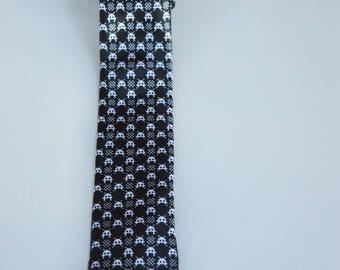 Black Skinny Pac-Man Tie, Novelty Tie, Pac Man, Pac-Man tie, Gamer tie