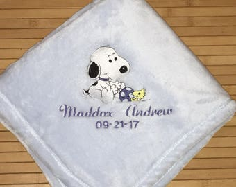 Embroidered Personalized Snoopy Ball Baby Blanket