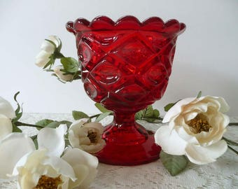 Stunning Vintage Ruby Red Glass Pressed Glass Footed Compote Candy Dish