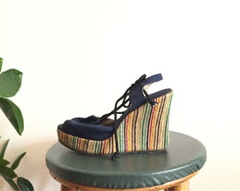 Vintage 70s Rainbow Wedge Shoes Espadrilles