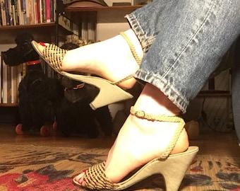 Vintage 70s Wedge Braided Sandals 8