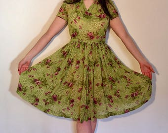 Vintage 40s 50s Green Chiffon Dress with Floral Print S/M