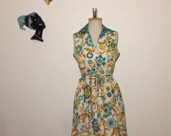 Vintage 70s Cotton Floral Dress