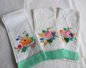 3 Pretty Vintage Finger Towels Guest Towels Hand Appliqued
