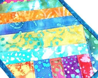 Colorful Mug Rug, Bright Batik Fabrics, Candle Mat, Snack Mat