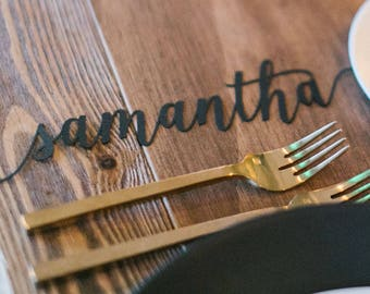 Laser Cut Names, Laser Cut Place Names, Calligraphy Place Names, Name Cards, Table Names