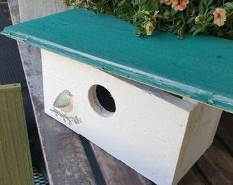 Turquoise birdhouse,rustic bird house,modern birdhouse,mid century modern,bird,vintage inspired,hand painted,outdoor birdhouse,functional