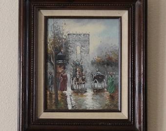 Vintage J Gaston Painting All Original, In a Hecho en Mexico Wood Frame, Scene of paris