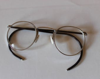 Vintage Kimball Round Frame Wrap Around Ear Eyeglasses, Lenses Labeled with a K, Kimball 25,