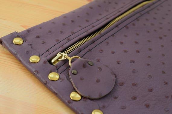 Leather clutch,purple leather purse,leather purse bag,ostrich leather clutch,purple handbag,leather clutches,violet leather bag,leather bag