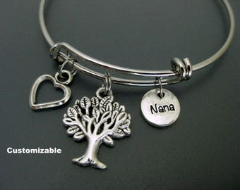Nana Bracelet / Nana Bangle / Tree of Life Bangle / Gift Idea For Nana / Charm Bracelet / Adjustable Bangle / Expendable Bangle / Stackable