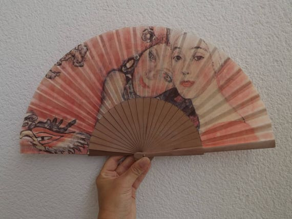 Beautiful Faces Fabric Design Spanish Hand Fan Limited Edition