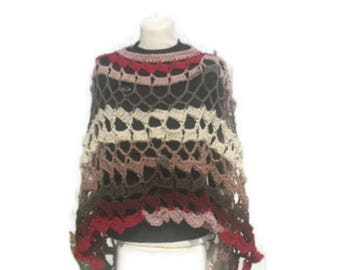 Crochet Poncho Circular Asymmetric Long Shawl Handmade Handcrochet Avant Garde Unbalanced Design