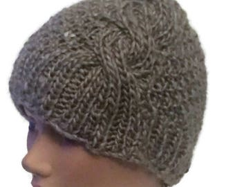 Beanie Hat With Big Cable for Woman Hand Knit  In Chunky Yarn
