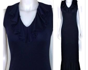 70s Navy Blue Dress, Sleeveless Dress, Blue Tartan Dress, Floor Length Dress, 1970s Maxi Dress, Ruffled Dress, V Neck Dress, Body Con Dress