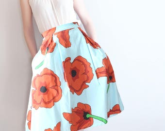 Cry To Me full skirt with kick pleats in large scale poppy