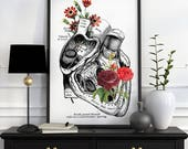 Flowery Heart Human Anatomy Art - Anatomical art prints, wall art poster , prints, digital , wall art, SKA080WA3
