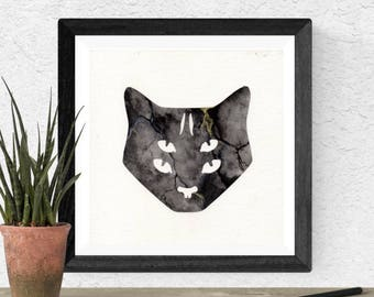 Original Watercolor Black Cat Grey Eyes Witch Familiar Gold Glyph Marble Space Stone Painting Art OOAK