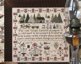 Pre-order 2018 Nashville Market Exclusive HEARTSTRING SAMPLERY Prairie Life Sampler counted cross stitch patterns at thecottageneedle.com