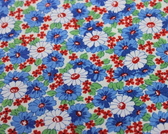 White Background with Blue, Green, Red Flower Cotton by Moda Fabrics, Summer Dress, Vintage Style Aprons, Headbands, baby quilts, Oven Mitt