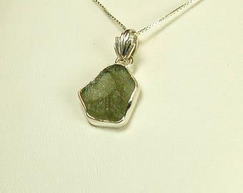 Moldavite Pendant, Sterling Silver, Translucent Green, Czech Moldavite, Meteorite Created, Green Tektite, Green Moldavite