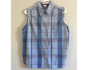 Navy Denim Plaid Button Up Sleeveless Shirt
