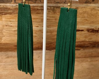Must Have Green Genuine Leather Fringe Earrings