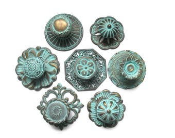 CLEARANCE Lot of 7 vintage drawer knobs with 7 backplates - All different - Distressed Turquoise Aqua Antique Brass - Eclectic Collection