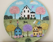Easter Folk Art Plate, Hand Painted Primitive Americana Country Landscape, Farmhouse, Saltbox Houses, Kite, Spring Flowers MADE TO ORDER