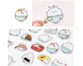 Kawaii Stickers - Rice Decal - Sushi Stickers - Sushi Decal - Die Cut Stickers - Cute Sticker - Planner Stickers, Set of 45