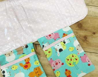 Travel Changing Pad - Diapering on the Go - Pale Pink with Farm Animals